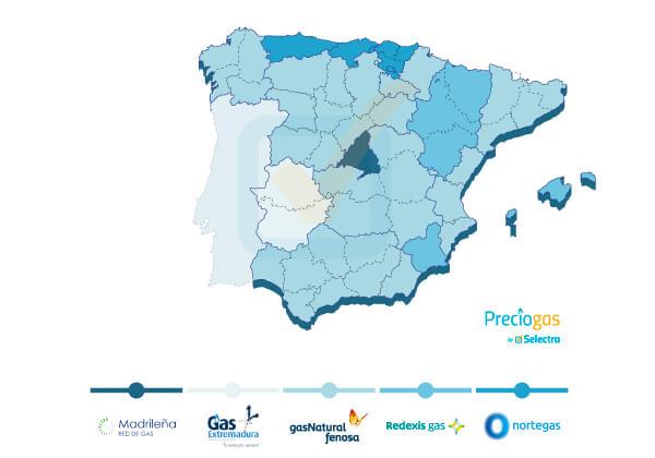 Mapa de compañías de gas natural